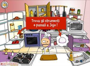 app interattiva per bambini per giocare a tagliare, mescolare, frullare, cucinare