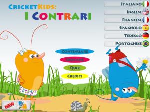 grilli per imparare giocando, parole e loro contrari, app interattiva, nativi digitali