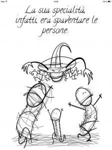 strega cattiva interattiva illustrata per ipad, interattività per raccontare storie, storie di qualità per bambini