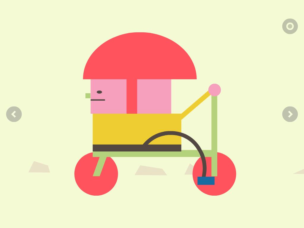 il bambino sul triciclo gli fa la pernacchia, app per bambini, editoria digitale , book app